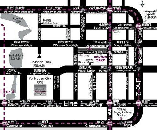 Map to Peking Yard Hostel