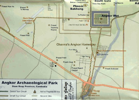 Map to Channa's Angkor Homestay